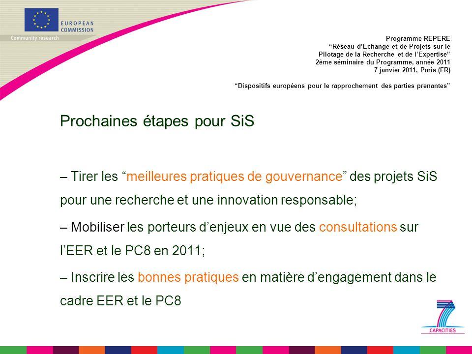 Prochaines étapes pour SiS – Tirer les meilleures pratiques de gouvernance des projets SiS pour une recherche et une innovation responsable; – Mobiliser les porteurs denjeux en vue des consultations sur lEER et le PC8 en 2011; – Inscrire les bonnes pratiques en matière dengagement dans le cadre EER et le PC8