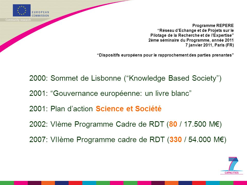 Programme REPERE Réseau dEchange et de Projets sur le Pilotage de la Recherche et de lExpertise 2ème séminaire du Programme, année 2011 7 janvier 2011, Paris (FR) Dispositifs européens pour le rapprochement des parties prenantes Appel à propositions SiS 2011 : SiS-2011-1.1.1-3 Réglementer les développements S&T émergents Coévolution de la science et de la loi Tensions dues aux avancées S&T Provisions légales pour lévolution du cadre légal PC < 1,5 M