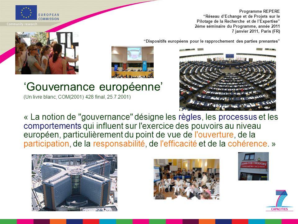 Gouvernance européenne (Un livre blanc, COM(2001) 428 final, 25.7.2001) « La notion de gouvernance désigne les règles, les processus et les comportements qui influent sur l exercice des pouvoirs au niveau européen, particulièrement du point de vue de l ouverture, de la participation, de la responsabilité, de l efficacité et de la cohérence.