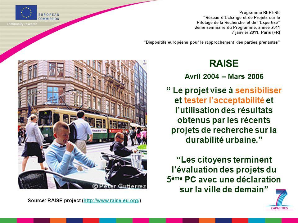 RAISE Avril 2004 – Mars 2006 Le projet vise à sensibiliser et tester l acceptabilité et l utilisation des résultats obtenus par les récents projets de recherche sur la durabilité urbaine.