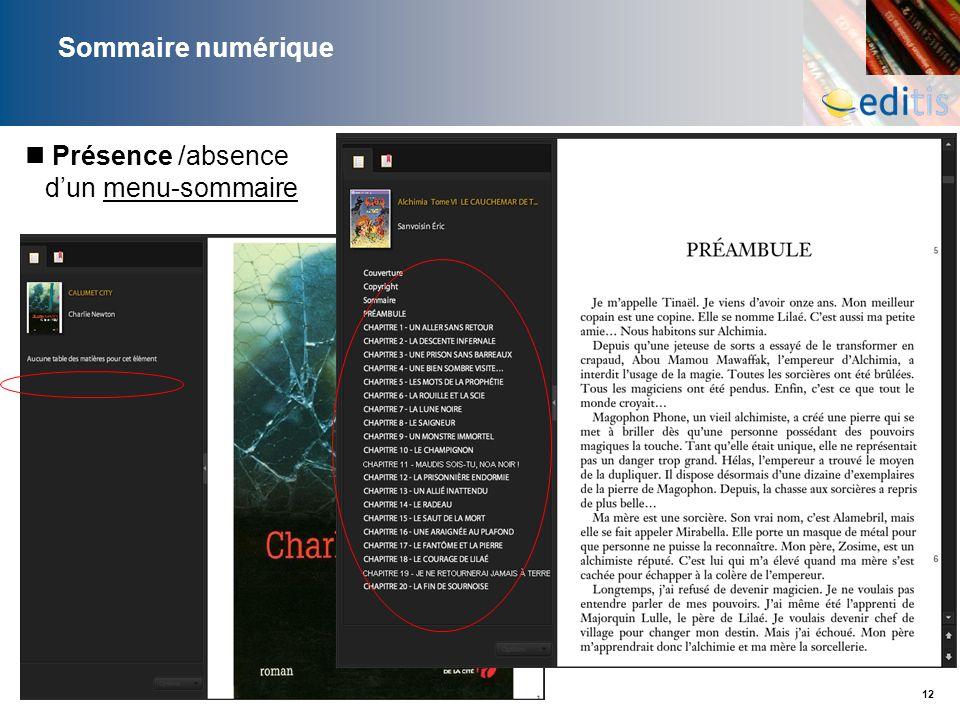 12 Sommaire numérique Présence /absence dun menu-sommaire