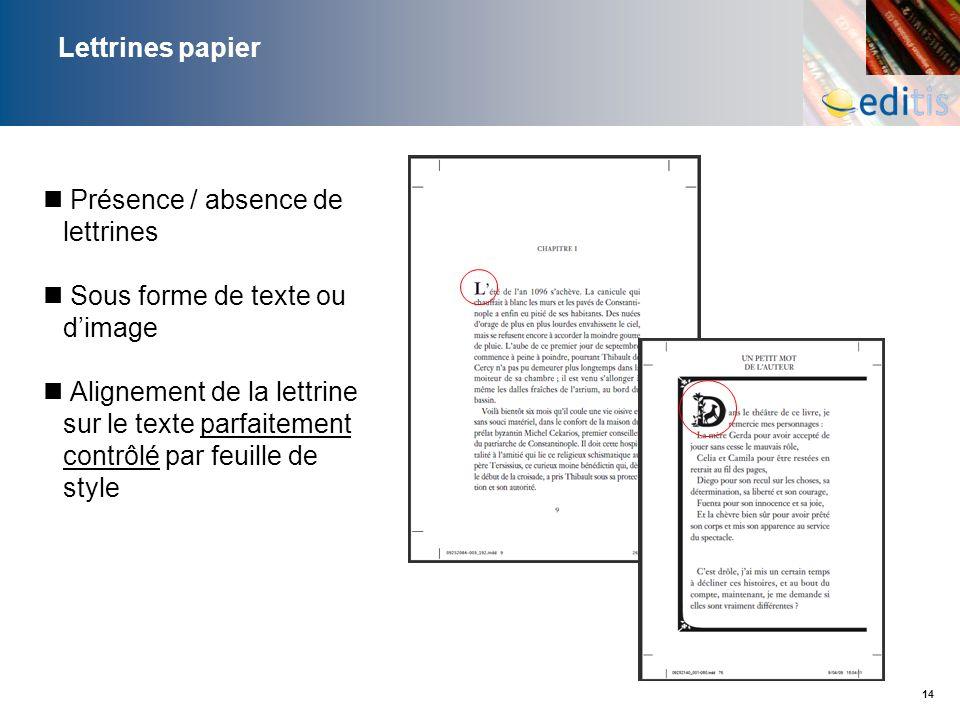 14 Lettrines papier Présence / absence de lettrines Sous forme de texte ou dimage Alignement de la lettrine sur le texte parfaitement contrôlé par feu