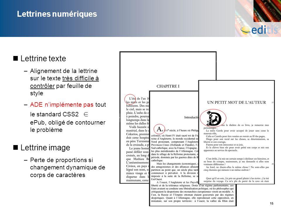 15 Lettrines numériques Lettrine texte –Alignement de la lettrine sur le texte très difficile à contrôler par feuille de style –ADE nimplémente pas to