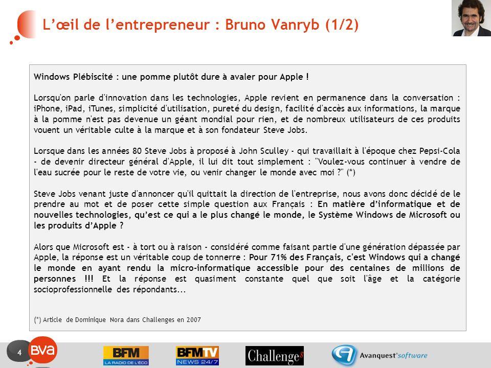 4 Lœil de lentrepreneur : Bruno Vanryb (1/2) Windows Plébiscité : une pomme plutôt dure à avaler pour Apple .
