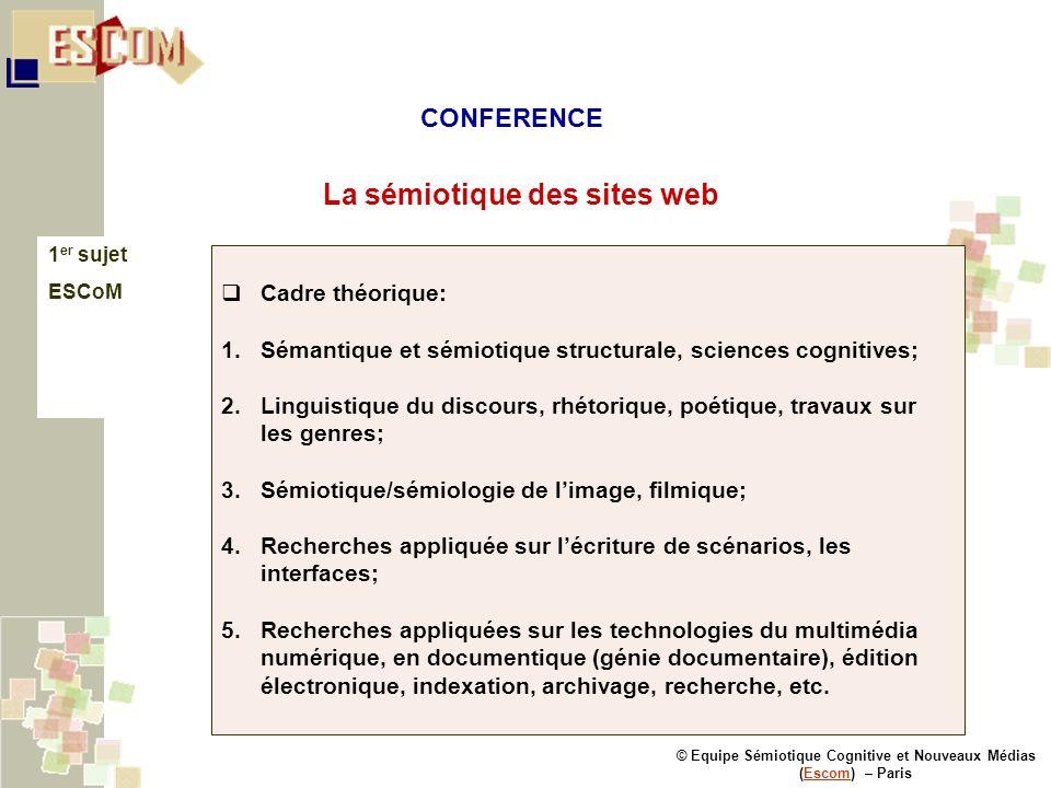 © Equipe Sémiotique Cognitive et Nouveaux Médias (Escom) – ParisEscom La sémiotique des sites web 1 er sujet ESCoM Cadre théorique: 1.Sémantique et sé