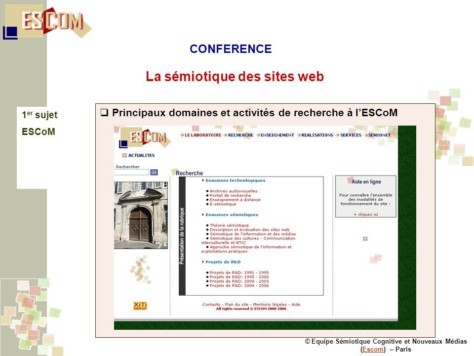 © Equipe Sémiotique Cognitive et Nouveaux Médias (Escom) – ParisEscom La sémiotique des sites web 1 er sujet ESCoM Principaux domaines et activités de recherche à lESCoM CONFERENCE