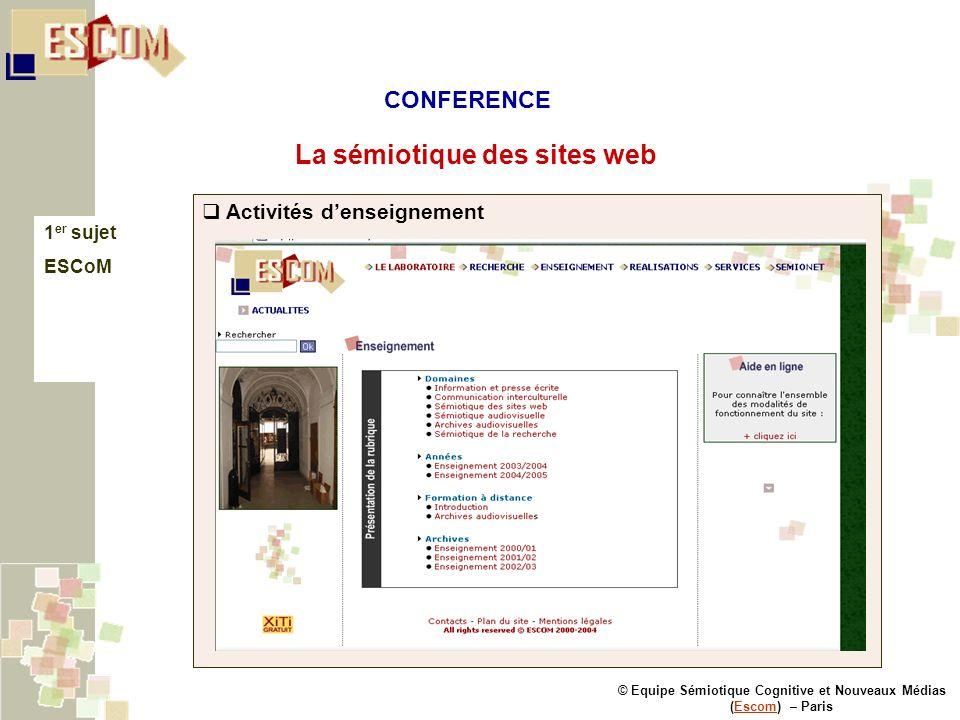 © Equipe Sémiotique Cognitive et Nouveaux Médias (Escom) – ParisEscom La sémiotique des sites web 1 er sujet ESCoM Activités denseignement CONFERENCE