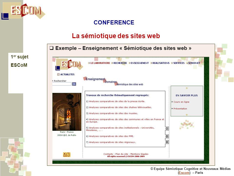 © Equipe Sémiotique Cognitive et Nouveaux Médias (Escom) – ParisEscom La sémiotique des sites web 1 er sujet ESCoM Exemple – Enseignement « Sémiotique