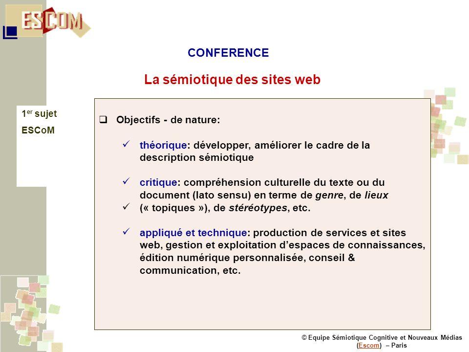 © Equipe Sémiotique Cognitive et Nouveaux Médias (Escom) – ParisEscom La sémiotique des sites web 1 er sujet ESCoM Objectifs - de nature: théorique: d