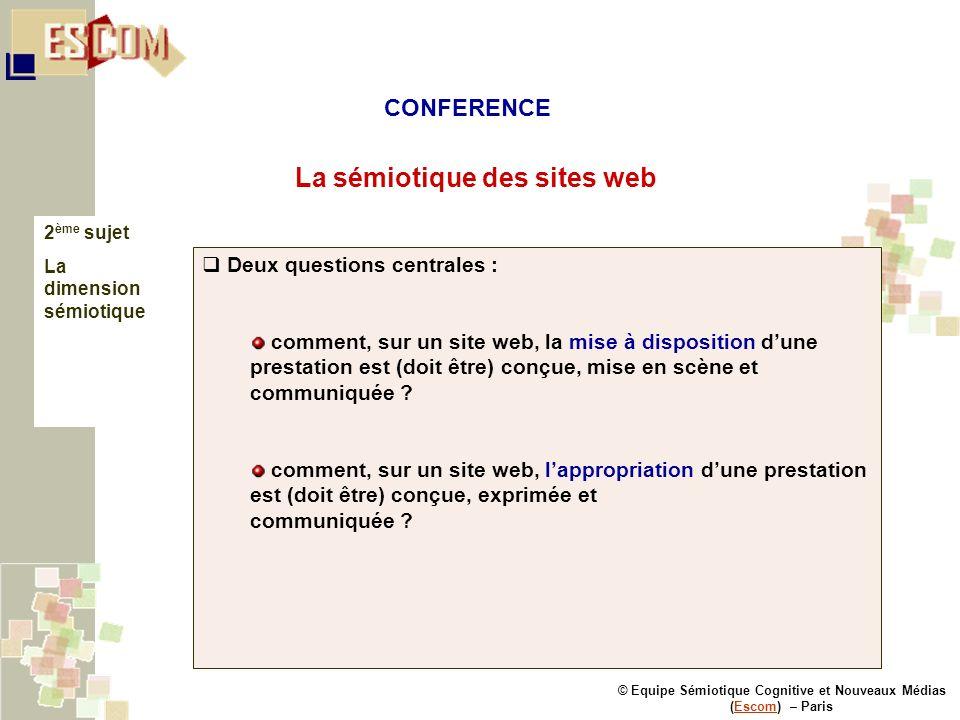 © Equipe Sémiotique Cognitive et Nouveaux Médias (Escom) – ParisEscom La sémiotique des sites web 2 ème sujet La dimension sémiotique Deux questions c