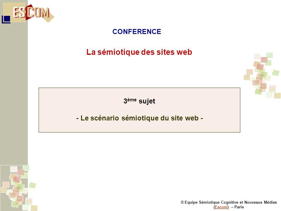© Equipe Sémiotique Cognitive et Nouveaux Médias (Escom) – ParisEscom La sémiotique des sites web 3 ème sujet - Le scénario sémiotique du site web - C