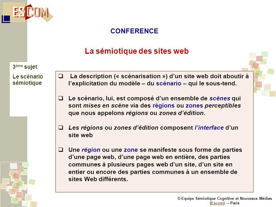 © Equipe Sémiotique Cognitive et Nouveaux Médias (Escom) – ParisEscom La sémiotique des sites web 3 ème sujet Le scénario sémiotique La description («