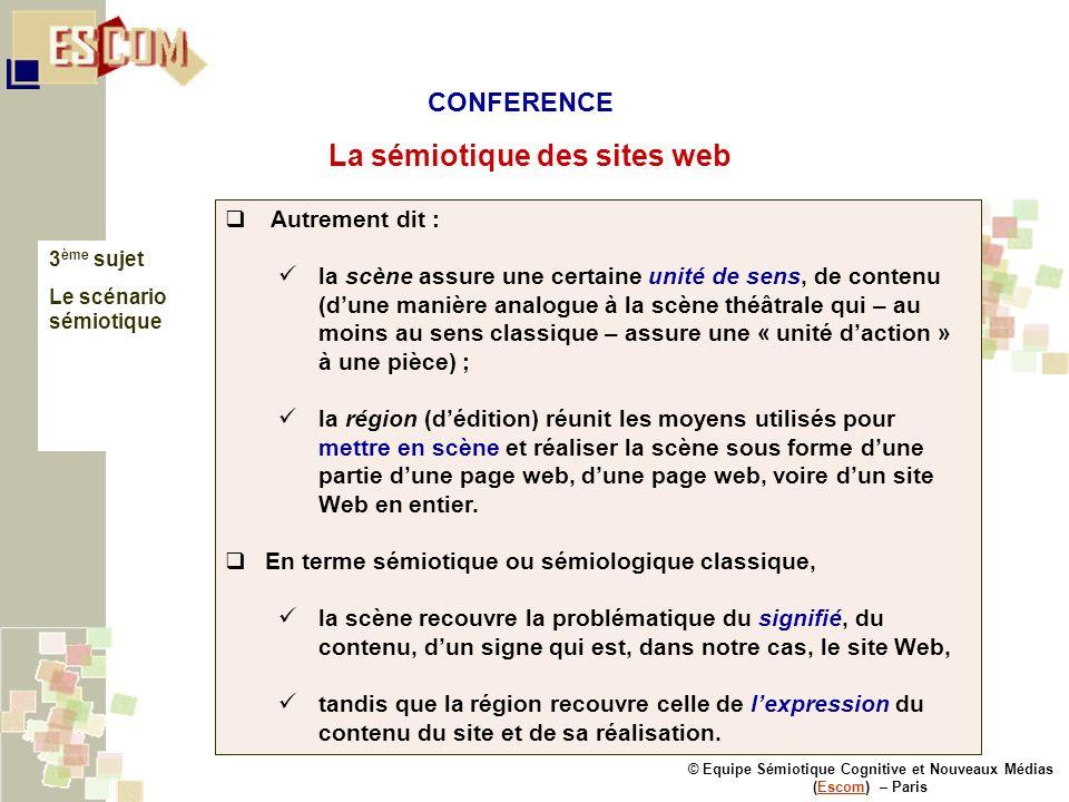 © Equipe Sémiotique Cognitive et Nouveaux Médias (Escom) – ParisEscom La sémiotique des sites web 3 ème sujet Le scénario sémiotique Autrement dit : l