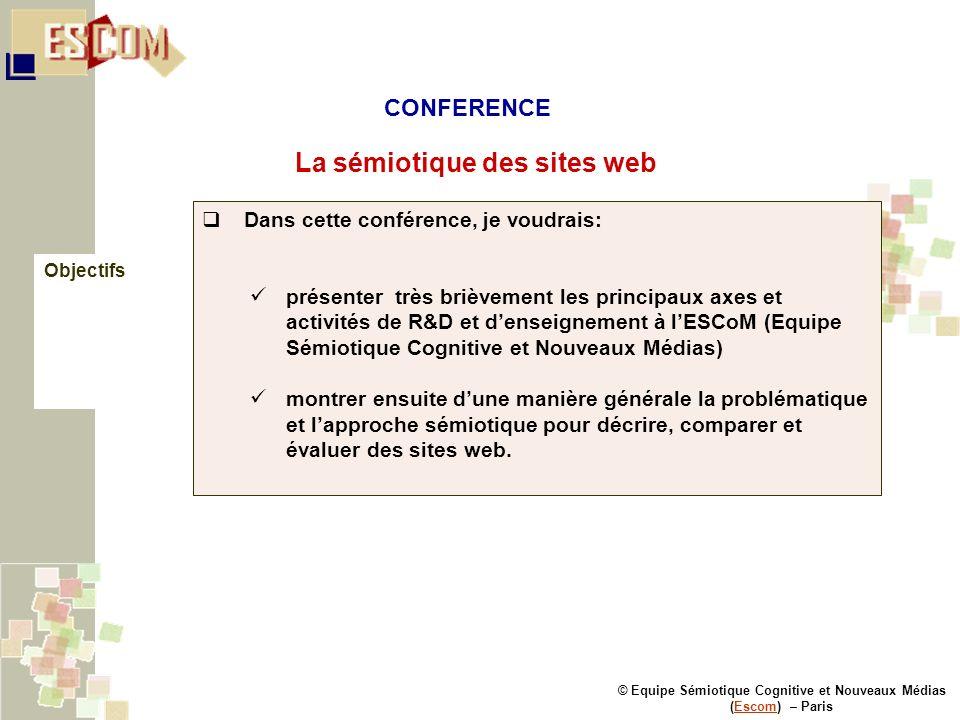 © Equipe Sémiotique Cognitive et Nouveaux Médias (Escom) – ParisEscom Dans cette conférence, je voudrais: présenter très brièvement les principaux axe