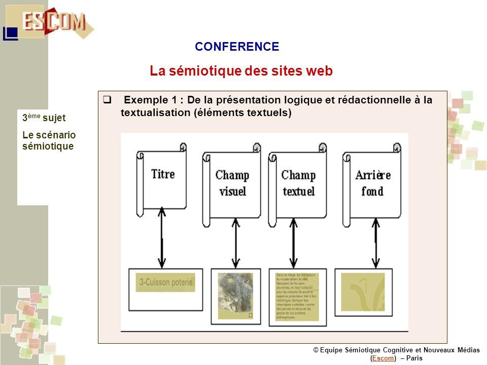 © Equipe Sémiotique Cognitive et Nouveaux Médias (Escom) – ParisEscom La sémiotique des sites web 3 ème sujet Le scénario sémiotique Exemple 1 : De la