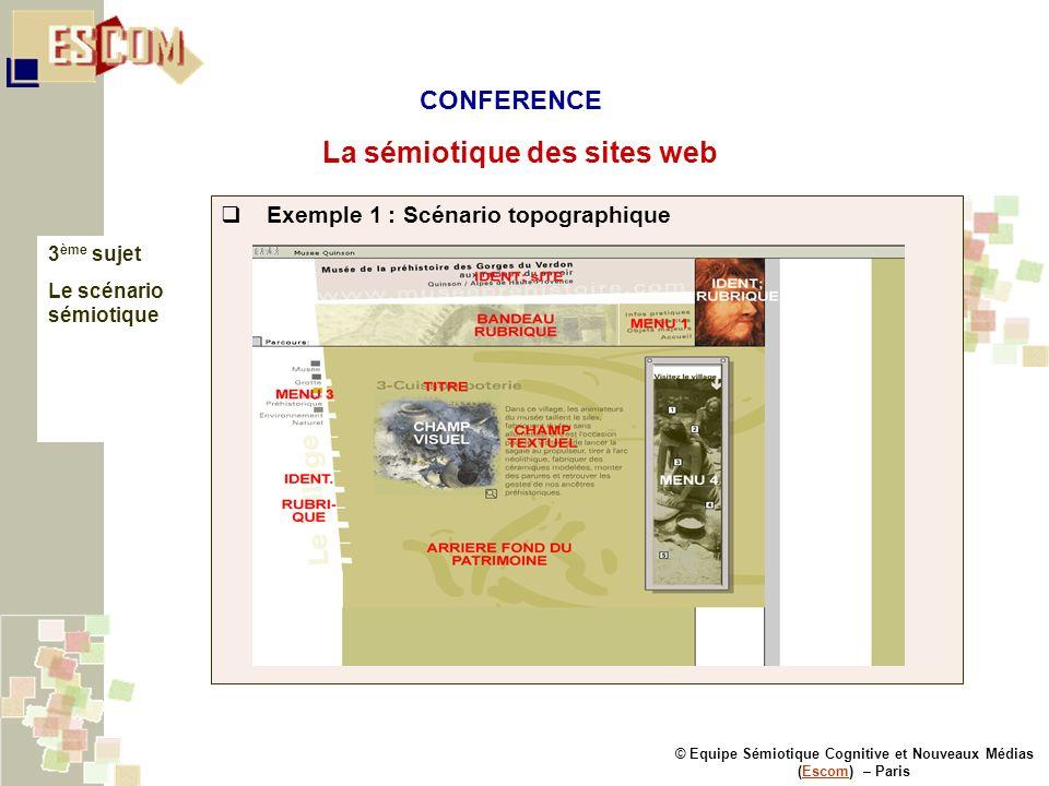 © Equipe Sémiotique Cognitive et Nouveaux Médias (Escom) – ParisEscom La sémiotique des sites web 3 ème sujet Le scénario sémiotique Exemple 1 : Scéna