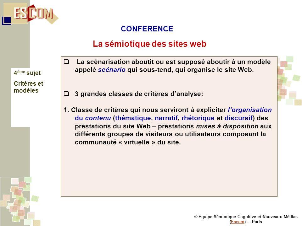 © Equipe Sémiotique Cognitive et Nouveaux Médias (Escom) – ParisEscom La sémiotique des sites web 4 ème sujet Critères et modèles La scénarisation abo