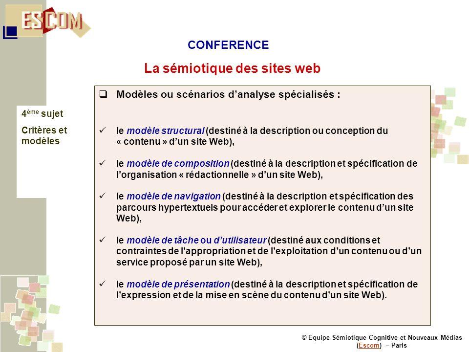 © Equipe Sémiotique Cognitive et Nouveaux Médias (Escom) – ParisEscom La sémiotique des sites web 4 ème sujet Critères et modèles Modèles ou scénarios