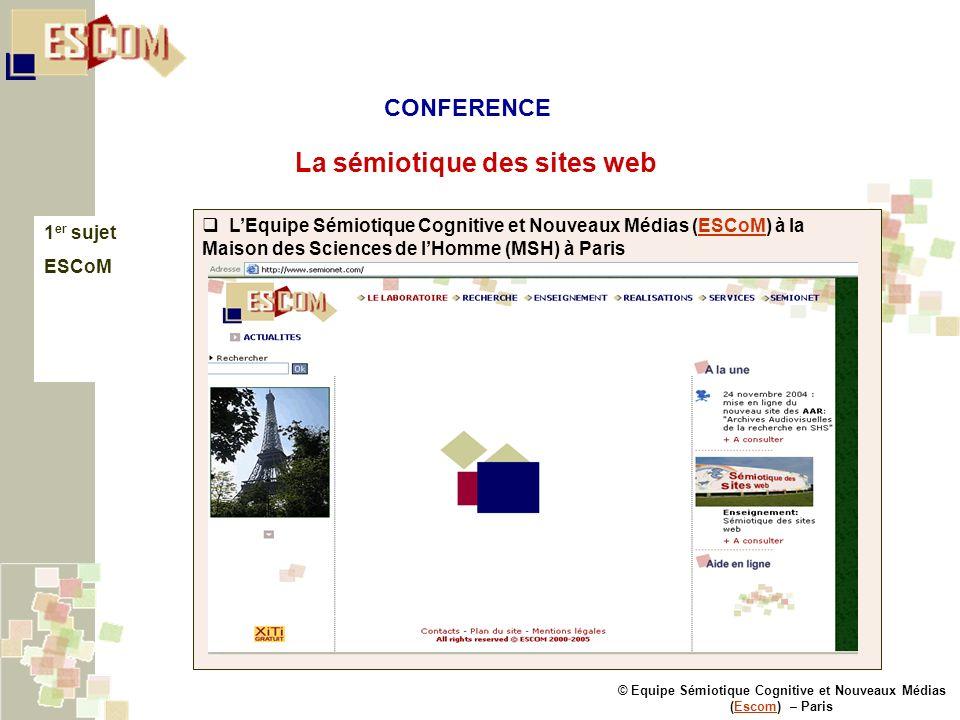 © Equipe Sémiotique Cognitive et Nouveaux Médias (Escom) – ParisEscom La sémiotique des sites web 1 er sujet ESCoM LEquipe Sémiotique Cognitive et Nou