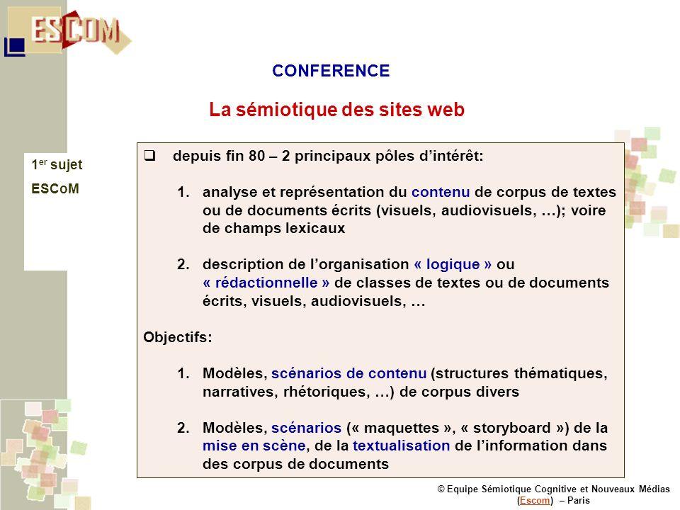 © Equipe Sémiotique Cognitive et Nouveaux Médias (Escom) – ParisEscom La sémiotique des sites web 1 er sujet ESCoM depuis fin 80 – 2 principaux pôles