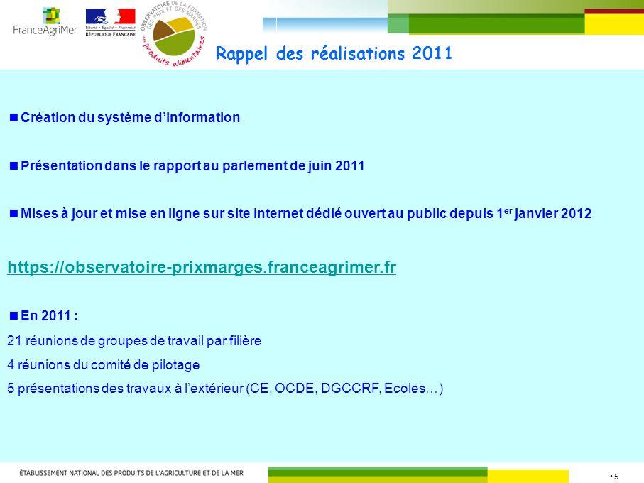 5 Rappel des réalisations 2011 Création du système dinformation Présentation dans le rapport au parlement de juin 2011 Mises à jour et mise en ligne s
