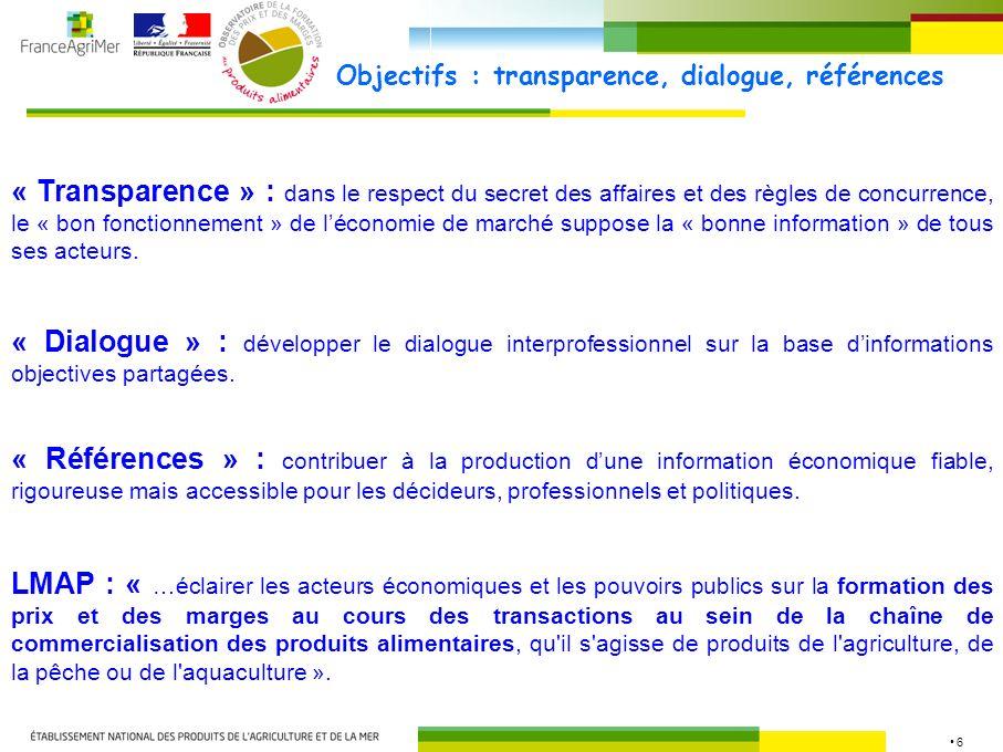 6 Objectifs : transparence, dialogue, références « Transparence » : dans le respect du secret des affaires et des règles de concurrence, le « bon fonctionnement » de léconomie de marché suppose la « bonne information » de tous ses acteurs.