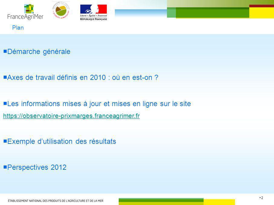 2 Démarche générale Axes de travail définis en 2010 : où en est-on ? Les informations mises à jour et mises en ligne sur le site https://observatoire-