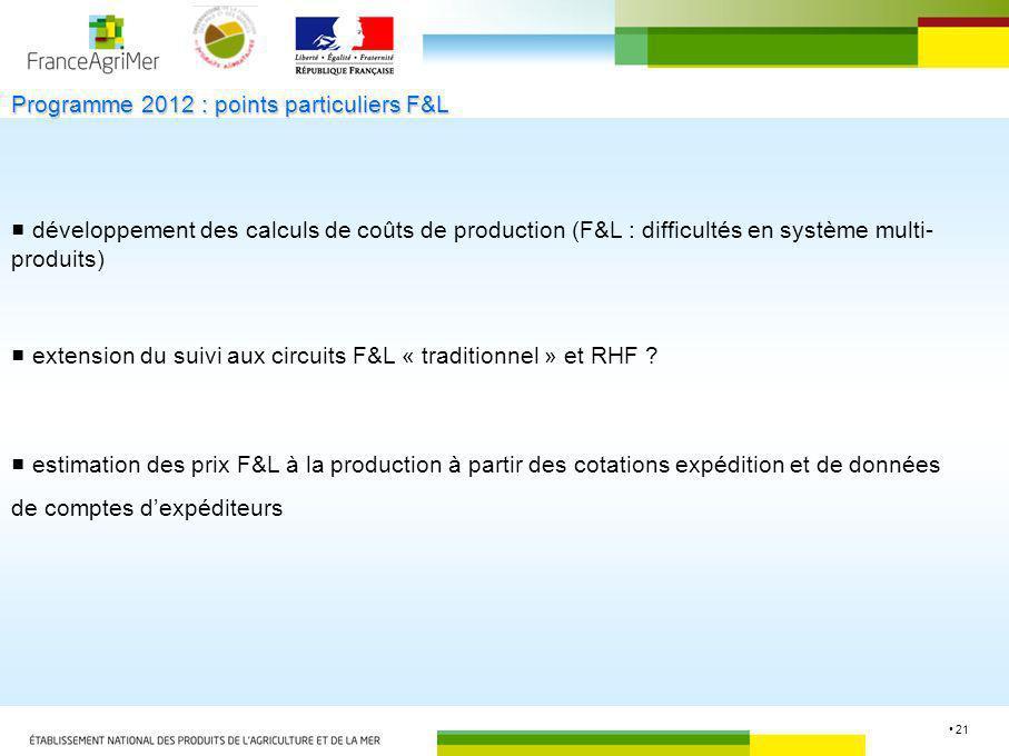 21 développement des calculs de coûts de production (F&L : difficultés en système multi- produits) extension du suivi aux circuits F&L « traditionnel