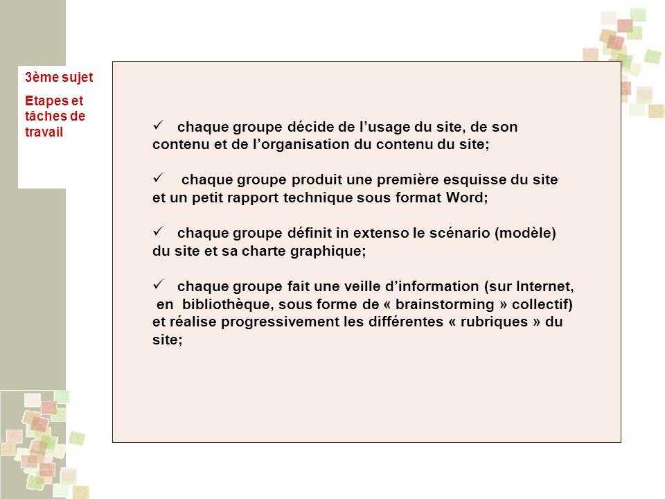 3ème sujet Etapes et tâches de travail chaque groupe décide de lusage du site, de son contenu et de lorganisation du contenu du site; chaque groupe produit une première esquisse du site et un petit rapport technique sous format Word; chaque groupe définit in extenso le scénario (modèle) du site et sa charte graphique; chaque groupe fait une veille dinformation (sur Internet, en bibliothèque, sous forme de « brainstorming » collectif) et réalise progressivement les différentes « rubriques » du site;