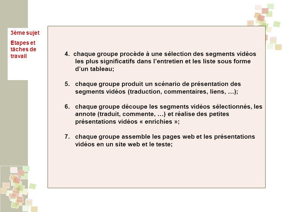 3ème sujet Etapes et tâches de travail 4. chaque groupe procède à une sélection des segments vidéos les plus significatifs dans lentretien et les list