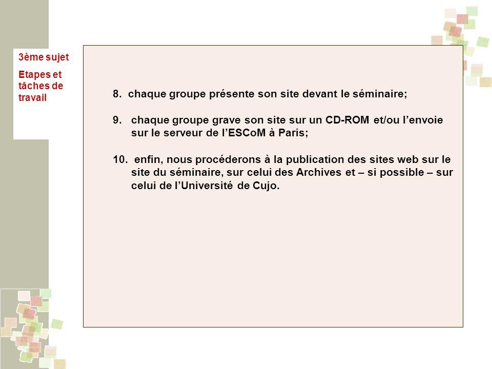 3ème sujet Etapes et tâches de travail 8. chaque groupe présente son site devant le séminaire; 9. chaque groupe grave son site sur un CD-ROM et/ou len
