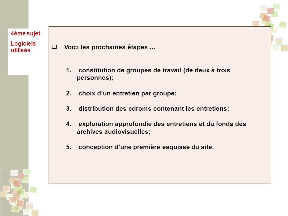 4ème sujet Logiciels utilisés Voici les prochaines étapes … 1. constitution de groupes de travail (de deux à trois personnes); 2. choix dun entretien