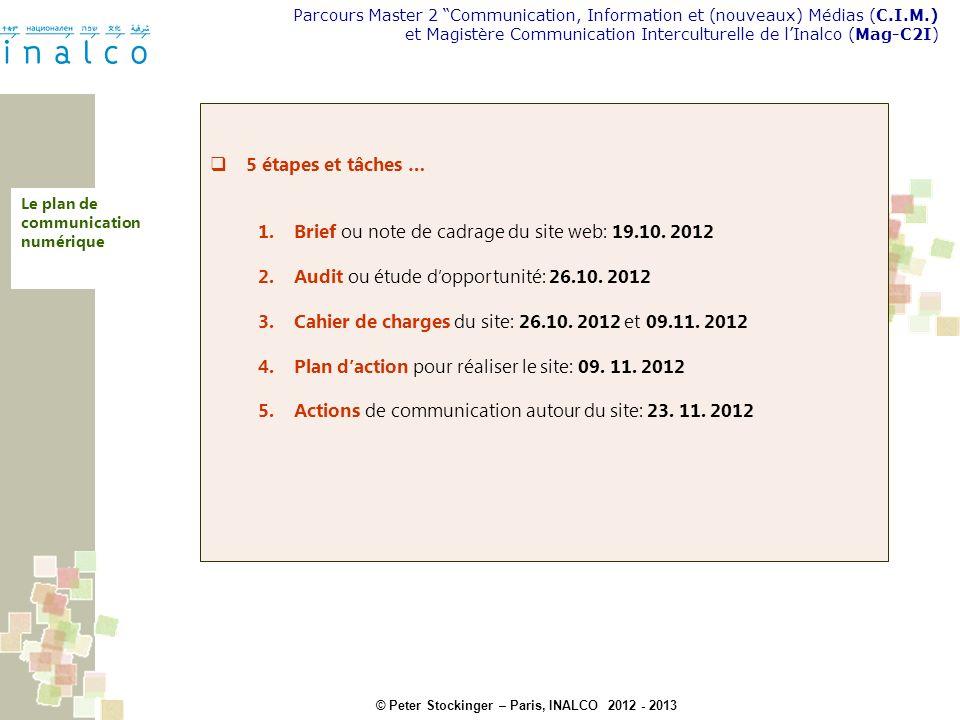© Peter Stockinger – Paris, INALCO 2012 - 2013 Parcours Master 2 Communication, Information et (nouveaux) Médias (C.I.M.) et Magistère Communication Interculturelle de lInalco (Mag-C2I) Analyse et conception Le plan dactions