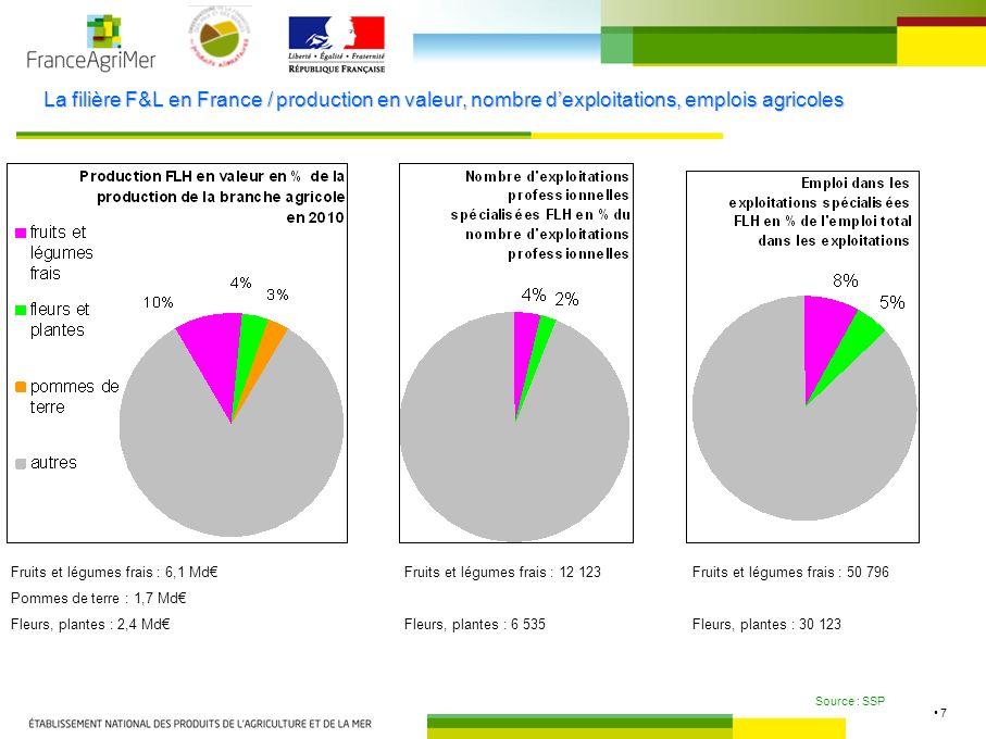 7 La filière F&L en France / production en valeur, nombre dexploitations, emplois agricoles Source : SSP Fruits et légumes frais : 6,1 Md Pommes de terre : 1,7 Md Fleurs, plantes : 2,4 Md Fruits et légumes frais : 12 123 Fleurs, plantes : 6 535 Fruits et légumes frais : 50 796 Fleurs, plantes : 30 123