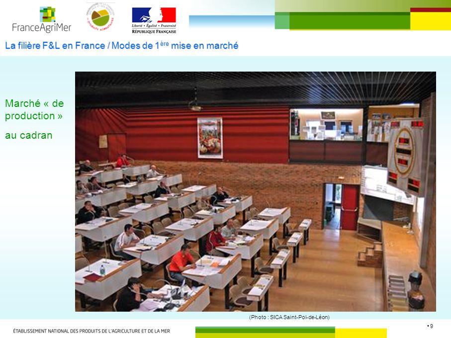 9 La filière F&L en France / Modes de 1 ère mise en marché Marché « de production » au cadran (Photo : SICA Saint-Pol-de-Léon)