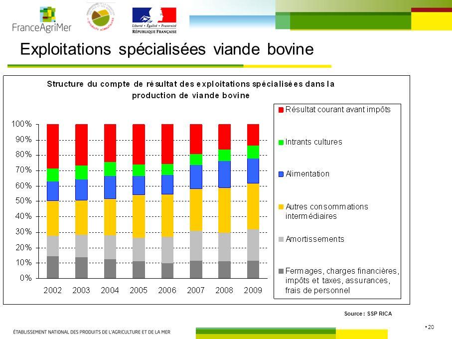 20 Exploitations spécialisées viande bovine Source : SSP RICA