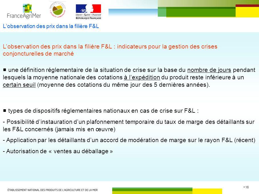 16 Lobservation des prix dans la filière F&L Lobservation des prix dans la filière F&L : indicateurs pour la gestion des crises conjoncturelles de mar