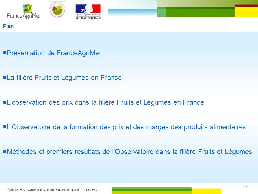 2 Plan Présentation de FranceAgriMer La filière Fruits et Légumes en France Lobservation des prix dans la filière Fruits et Légumes en France LObserva