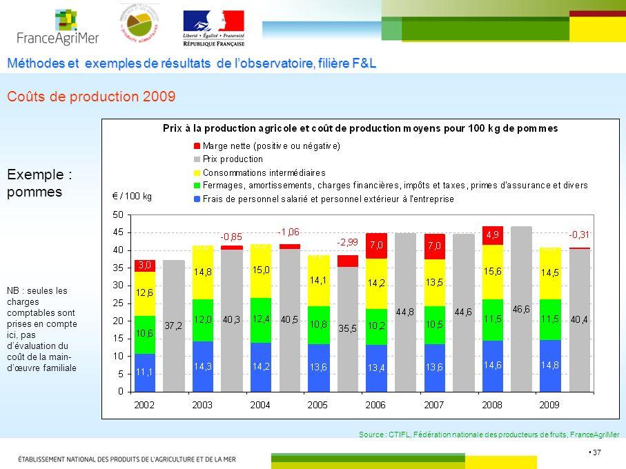 37 Méthodes et exemples de résultats de lobservatoire, filière F&L Coûts de production 2009 Source : CTIFL, Fédération nationale des producteurs de fr