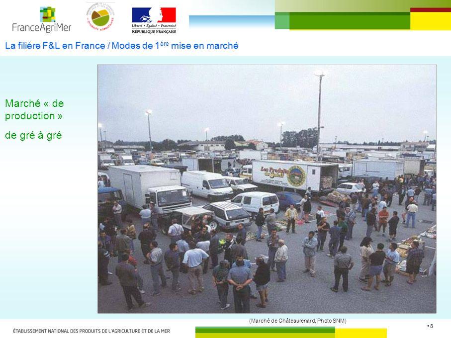 8 La filière F&L en France / Modes de 1 ère mise en marché Marché « de production » de gré à gré (Marché de Châteaurenard, Photo SNM)