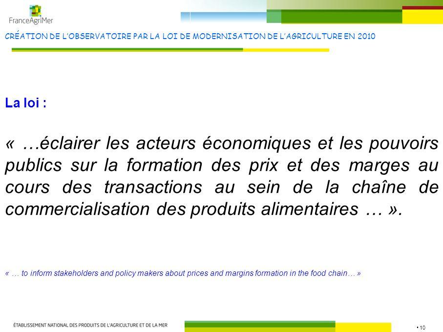 10 CRÉATION DE LOBSERVATOIRE PAR LA LOI DE MODERNISATION DE LAGRICULTURE EN 2010 « …éclairer les acteurs économiques et les pouvoirs publics sur la fo