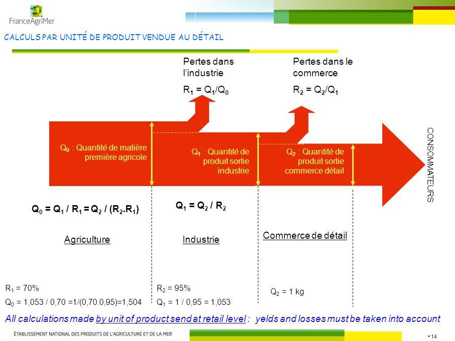 14 CALCULS PAR UNITÉ DE PRODUIT VENDUE AU DÉTAIL AgricultureIndustrie Commerce de détail Pertes dans lindustrie R 1 = Q 1 /Q 0 Pertes dans le commerce