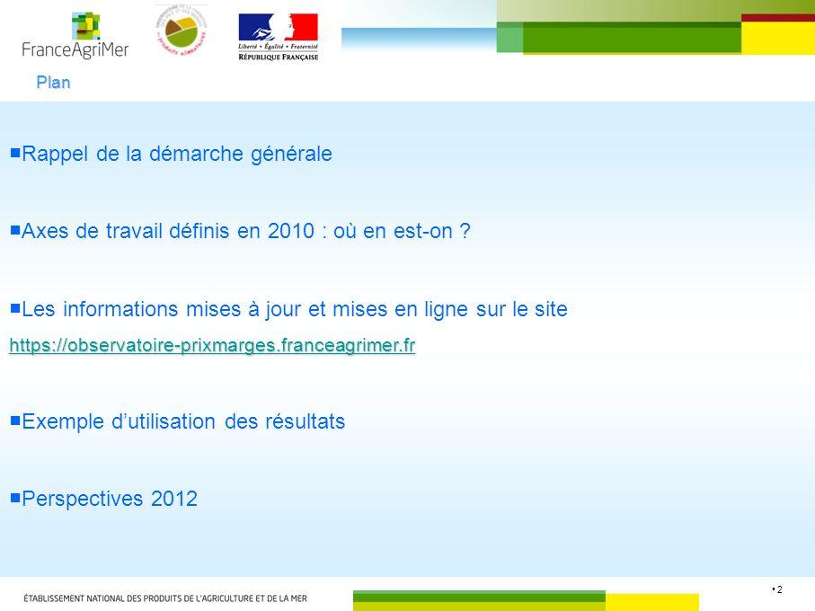 2 Rappel de la démarche générale Axes de travail définis en 2010 : où en est-on ? Les informations mises à jour et mises en ligne sur le site https://