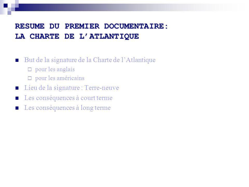 RESUME DU PREMIER DOCUMENTAIRE: LA CHARTE DE LATLANTIQUE But de la signature de la Charte de lAtlantique pour les anglais pour les américains Lieu de