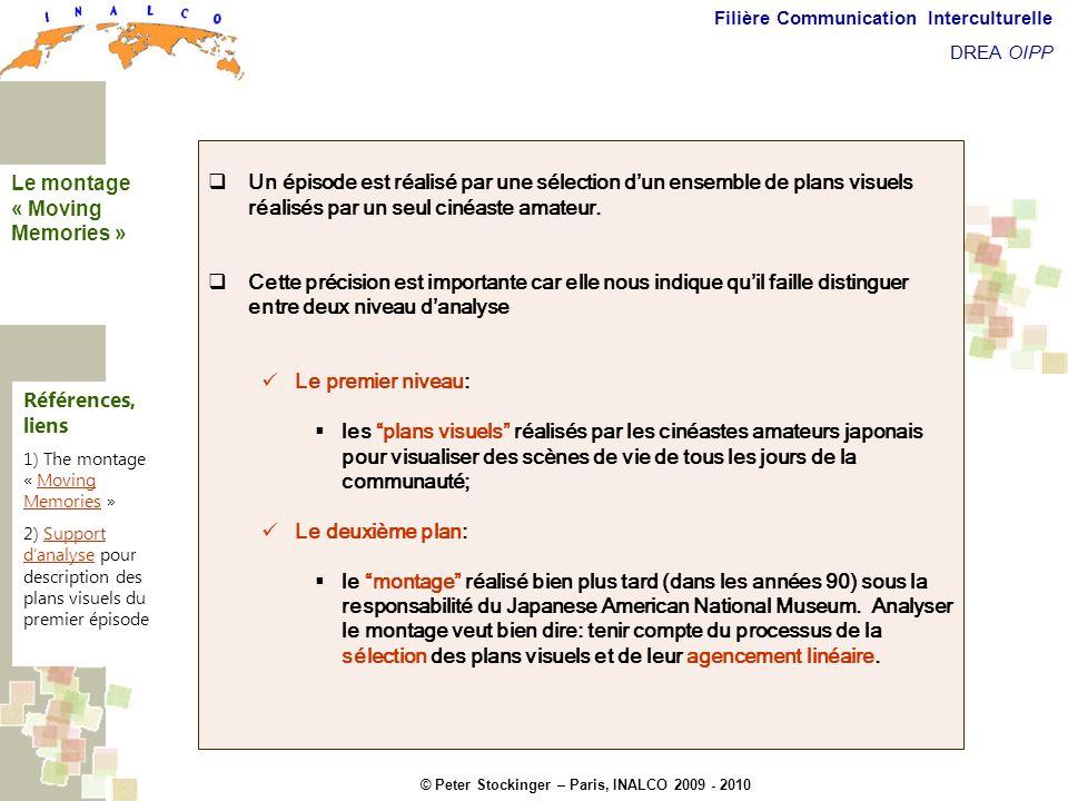 © Peter Stockinger – Paris, INALCO 2009 - 2010 Filière Communication Interculturelle DREA OIPP Commentaires introductifs Un épisode est réalisé par un