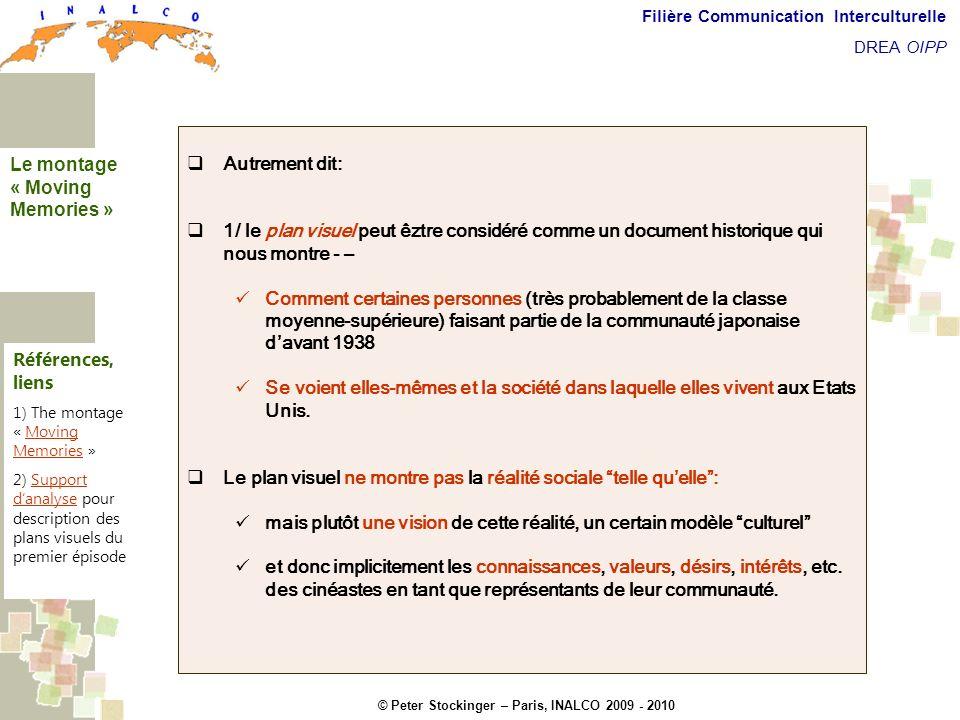 © Peter Stockinger – Paris, INALCO 2009 - 2010 Filière Communication Interculturelle DREA OIPP Commentaires introductifs Autrement dit: 1/ le plan vis