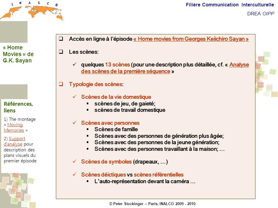 © Peter Stockinger – Paris, INALCO 2009 - 2010 Filière Communication Interculturelle DREA OIPP Home movies from G.K.Sayan Accès en ligne à lépisode «
