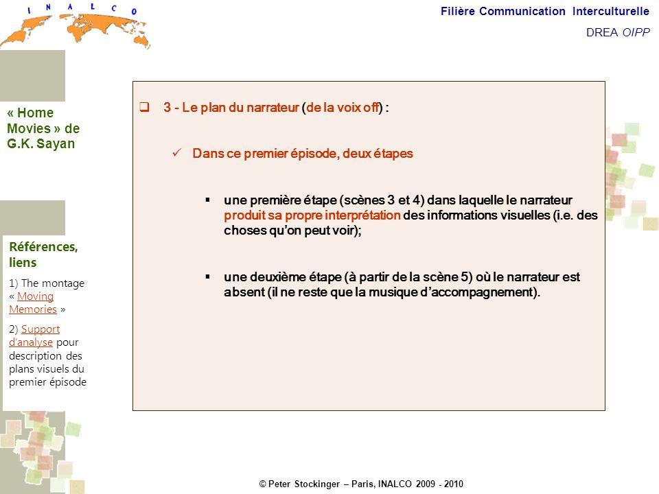 © Peter Stockinger – Paris, INALCO 2009 - 2010 Filière Communication Interculturelle DREA OIPP 5 commentaires 3 - Le plan du narrateur (de la voix off