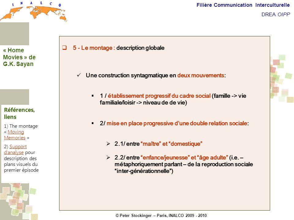 © Peter Stockinger – Paris, INALCO 2009 - 2010 Filière Communication Interculturelle DREA OIPP 5 commentaires 5 - Le montage : description globale Une