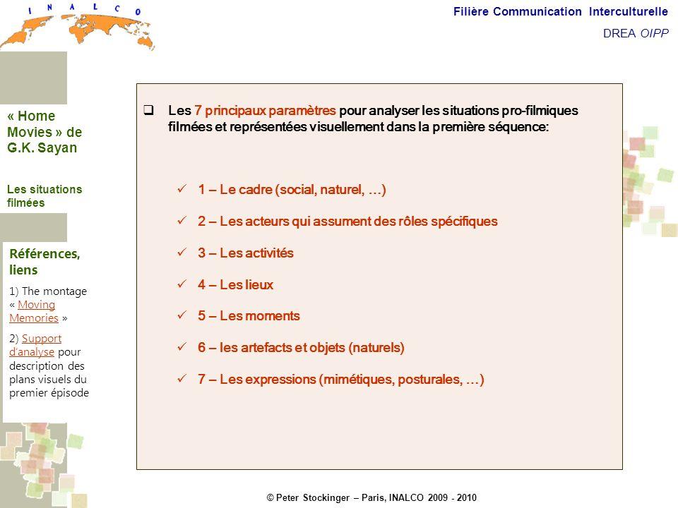 © Peter Stockinger – Paris, INALCO 2009 - 2010 Filière Communication Interculturelle DREA OIPP Les situations filmées Les 7 principaux paramètres pour